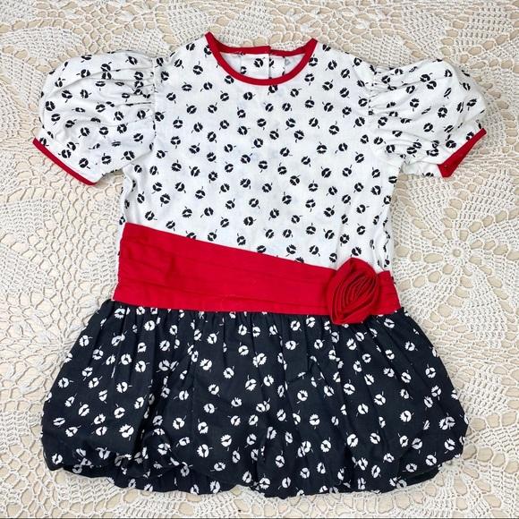 Vintage bubble hem floral contrast tunic